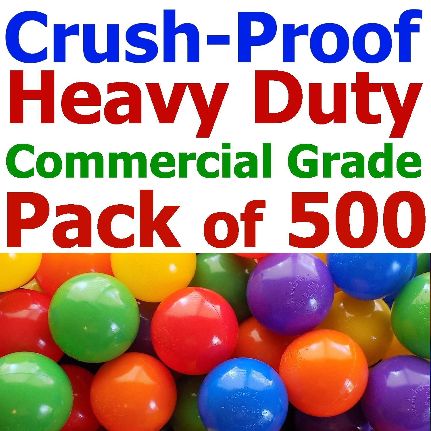 Pack of 500 Pcs Heavy Duty Commercial Grade Crush-proof Plastic Ball Pit Balls in 5 Colors - 3.1'' Air-filled 100% Non-pvc Phthalate Free Ldpe Plastic