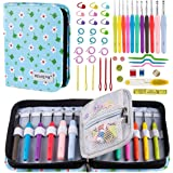 BONTIME Crochet Hooks Set - 11 Pieces Ergonomic Crochet Needles with Portable Case, Contains All The Knitting Accessories Fit Any Projects,Ideal for Crocheters with Arthritic,Clover Print