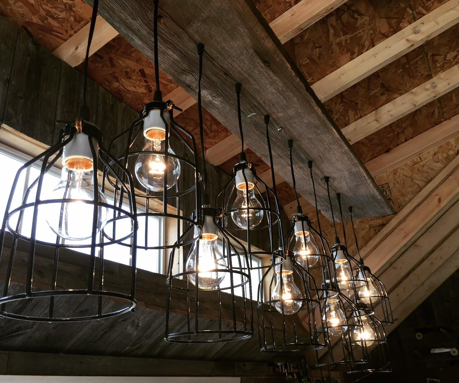 Rustic barn wood industrial cage pendant chandeliers