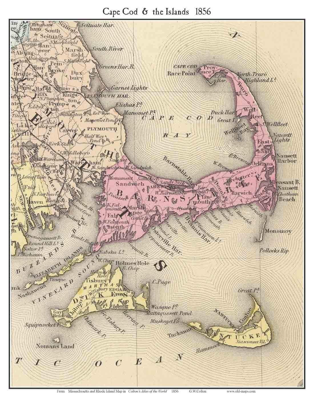 Amazon com: Cape Cod & the Islands 1856 - Colton - Reprint