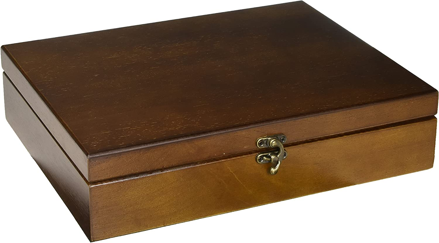 WE Games Old World Wooden Treasure Box with Brass Latch (Walnut Finish)
