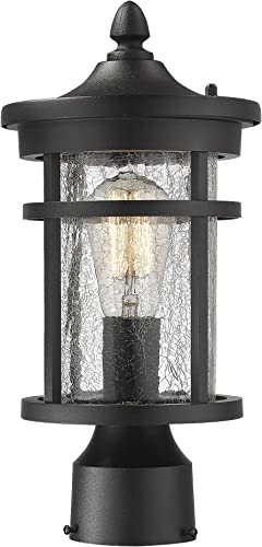 Emliviar 1-Light Outdoor Post Lantern, Exterior Post Light Fixture in Black Finish with Crackle Glass, A208510P1