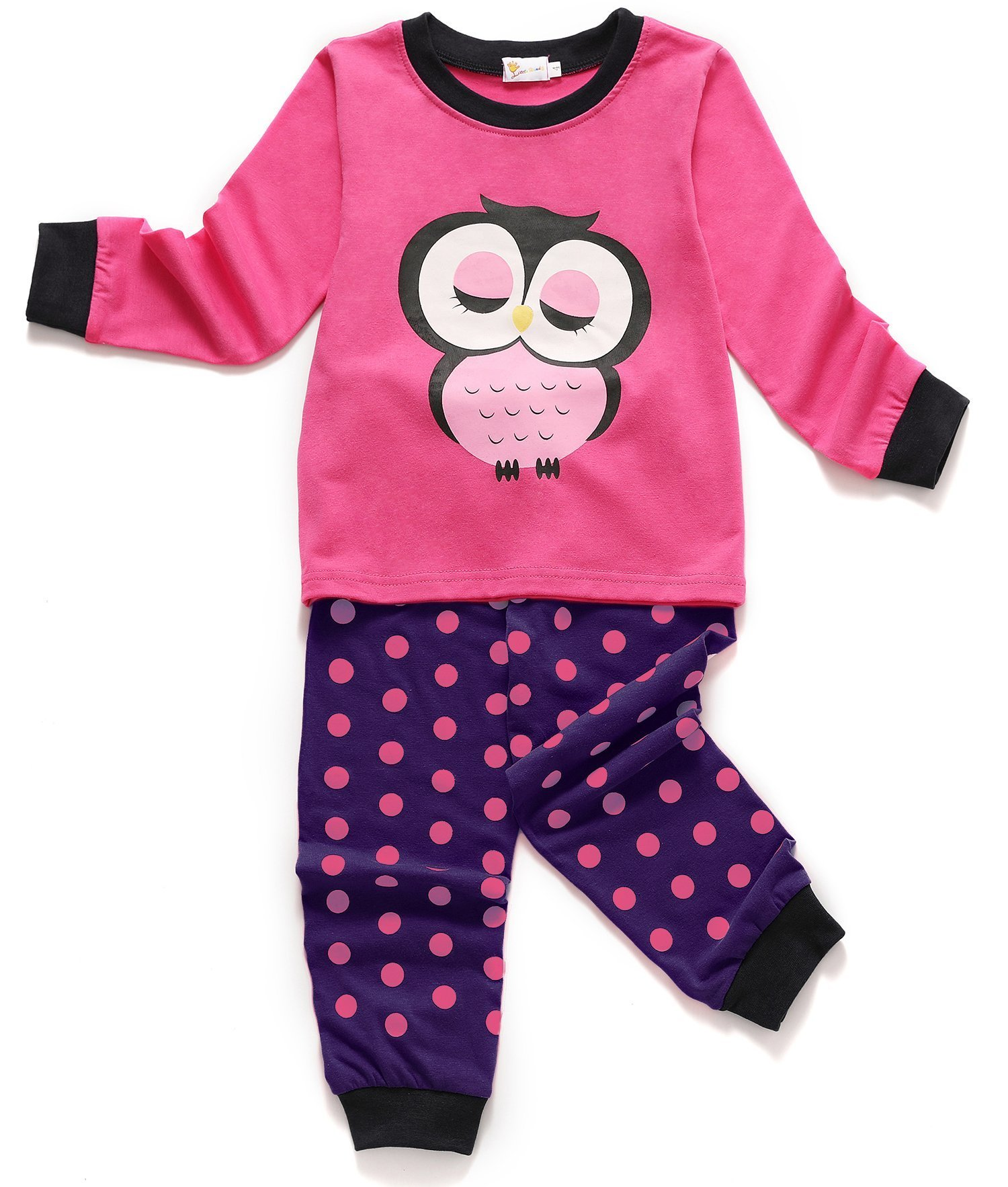 Girls Owl Pajamas Toddler Kids Long Sleeve PJs 2 Pieces Cotton Sleepwear Set Size 6-7 Years