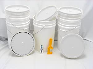 Bucket Kit, Five White 6 Gallon Buckets White Snap-on Lids and one Lid Wrench