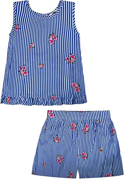 6 Years Girls Floral Stripe Set T-shirt and Shorts 2 Piece Blue Ages 12 Months