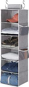 "StorageWorks 6-Shelf Hanging Closet Organizer, Hanging Shelves for Closet, Canvas, Gray, 12""W x 12""D x 42""H"