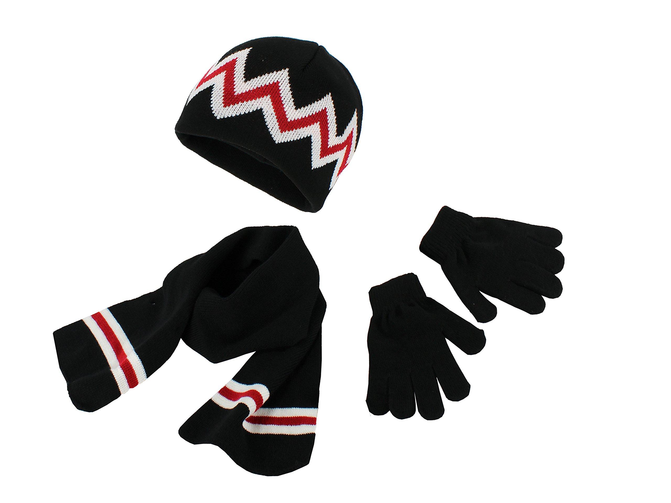 Polar Wear Boys Knit Hat, Scarf And Gloves Set - Black/Red