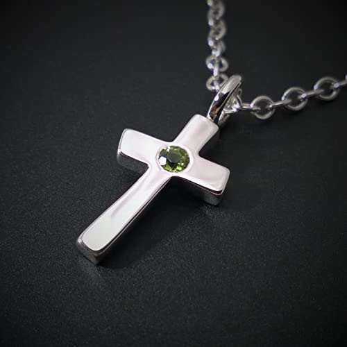 Amazon peridot cross pendant in sterling silver handmade peridot cross pendant in sterling silver mozeypictures Image collections
