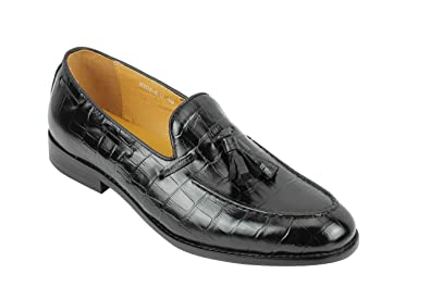 Mens Brown Real Leather Tassel Loafers Snakeskin Print Retro MOD Shoes UK Size