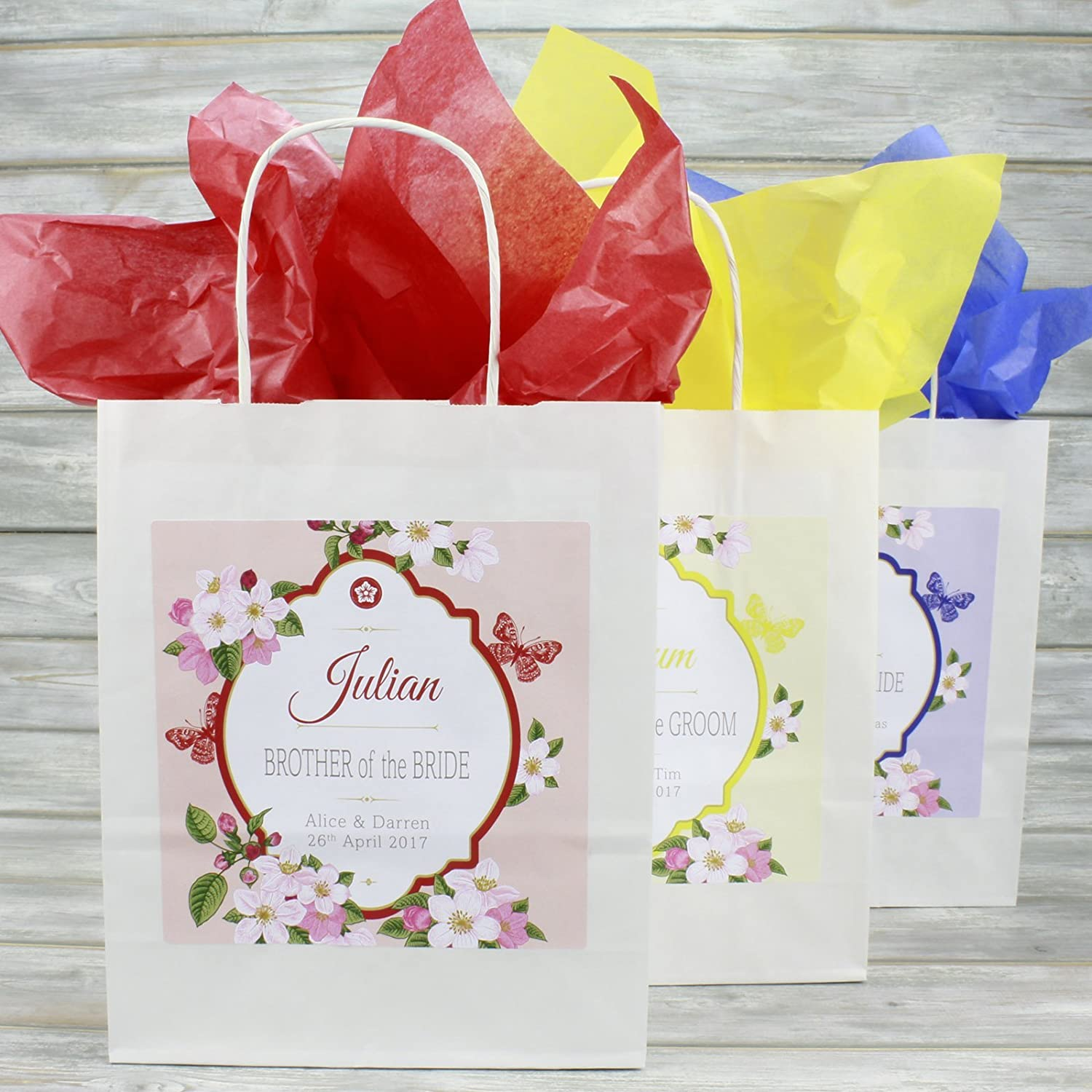 Personalised Wedding Favour Gift Bag | Matching Tissue Paper ...