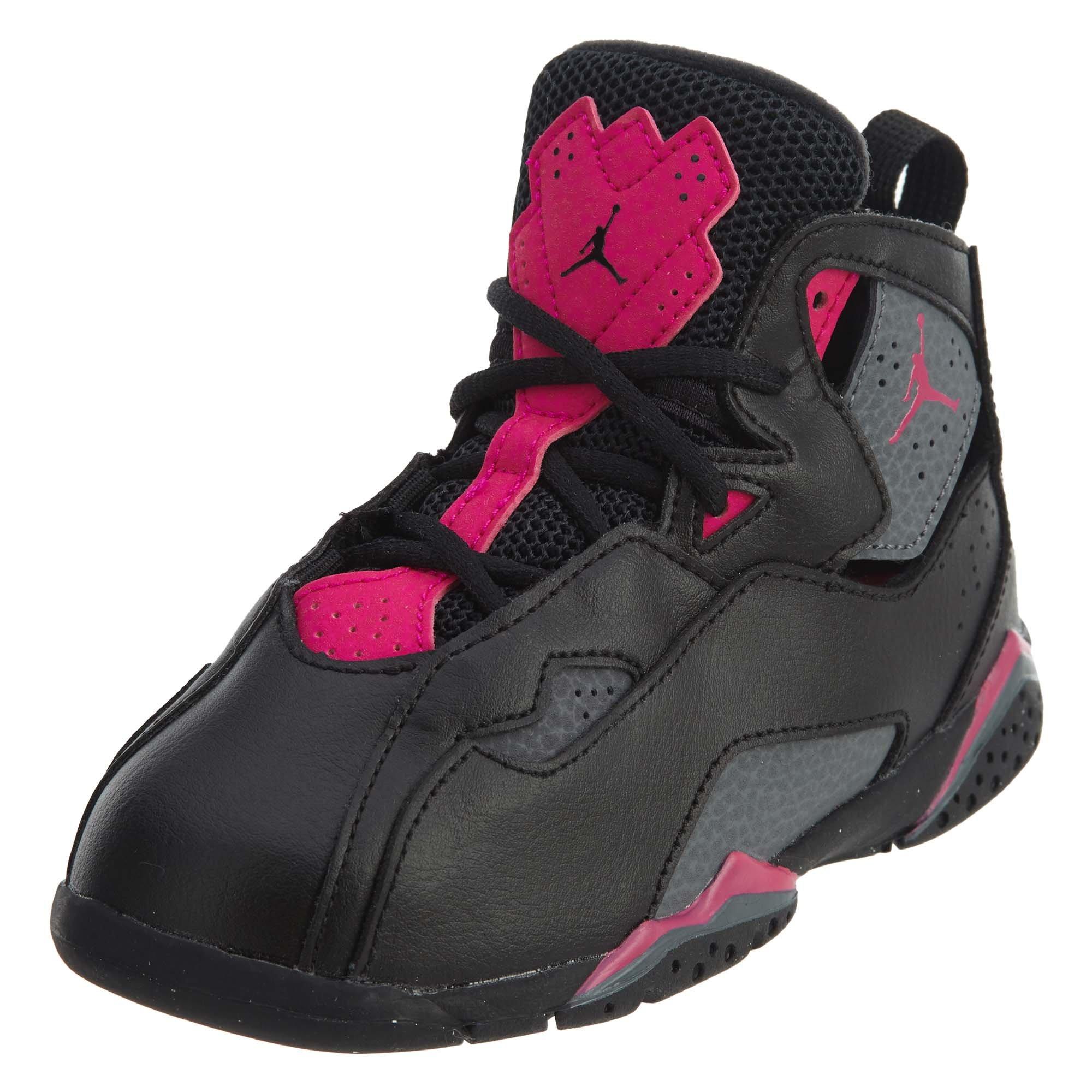 Jordan Nike Toddlers True Flight GT Black/Dark/Grey/Deadly/Pink Basketball Shoe 10 Infants US