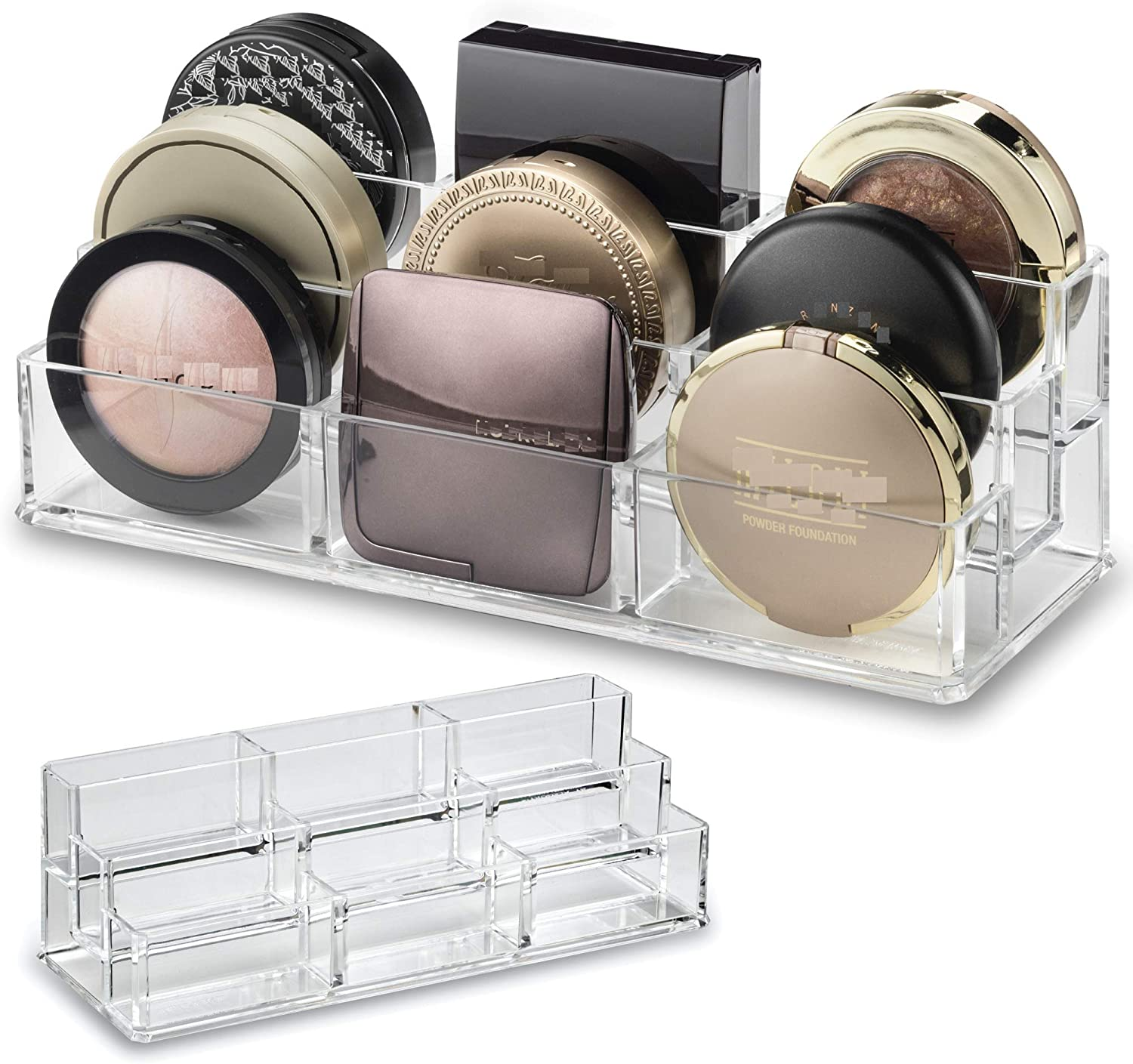 byAlegory Acrylic Tiered Compact Makeup Organiser for Bronzer Highlighter Powder Blush | 9 Space Storage 3 Tier Cosmetic Beauty Container: Amazon.es: Belleza