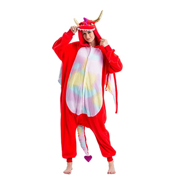 Spooktacular Creations Unisex Adult Pajama Plush Onesie One Piece Dragon Animal Costume