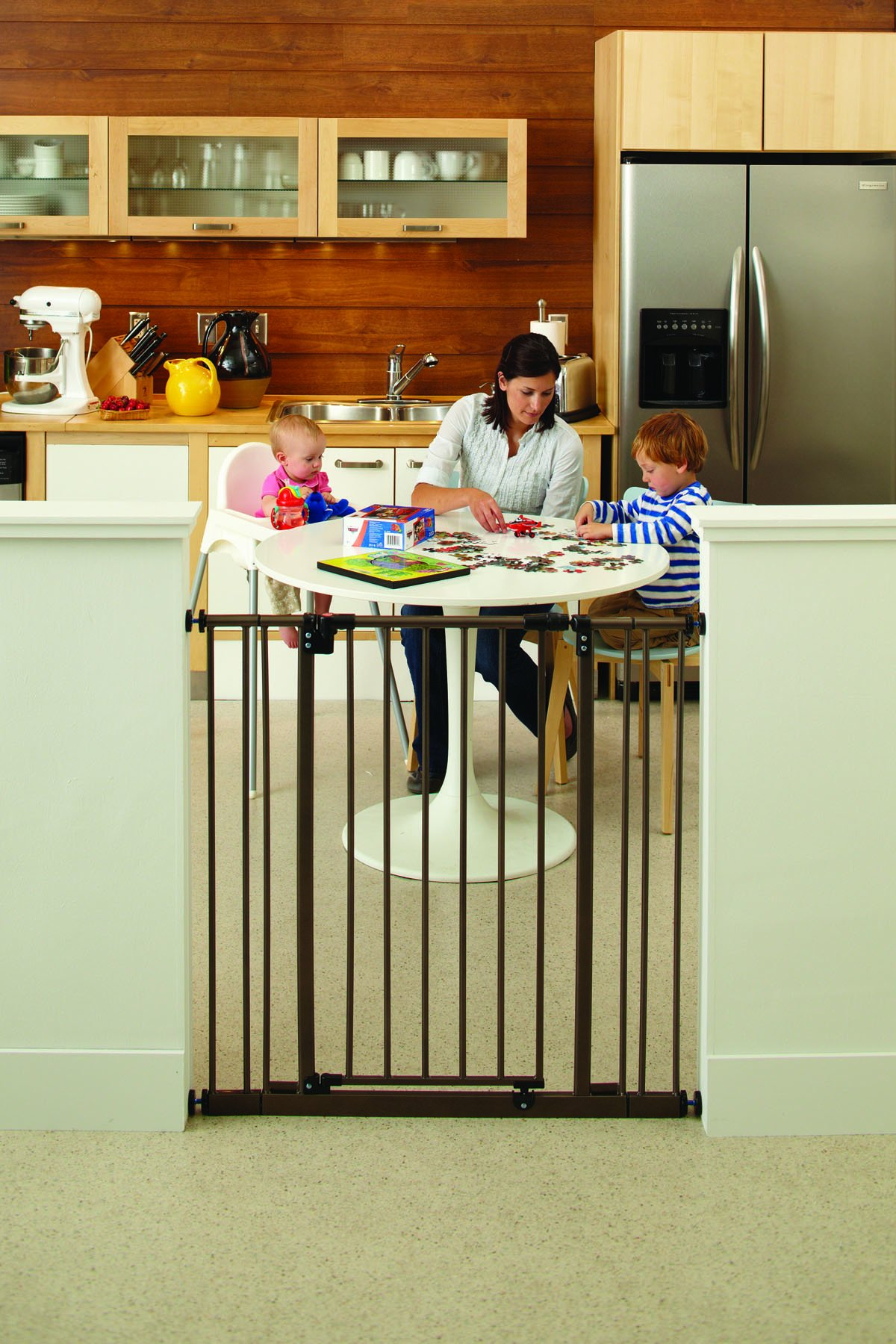 ''Extra-Tall Easy-Close Gate'' by North States: The multidirectional swing gate with triple locking system - Ideal for taller entries. Pressure mount. Fits openings 28'' to 38.5'' wide (36'' tall, Bronze) by North States (Image #2)
