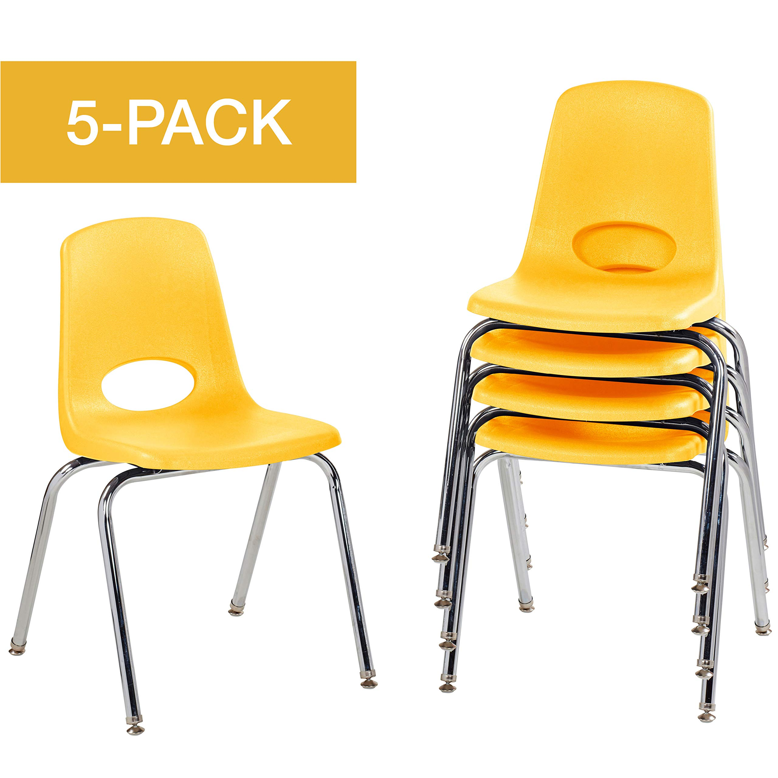 18'' School Stack Chair,Stacking Student Chairs with Chromed Steel Legs and Nylon Swivel Glides - Yellow (5-Pack)
