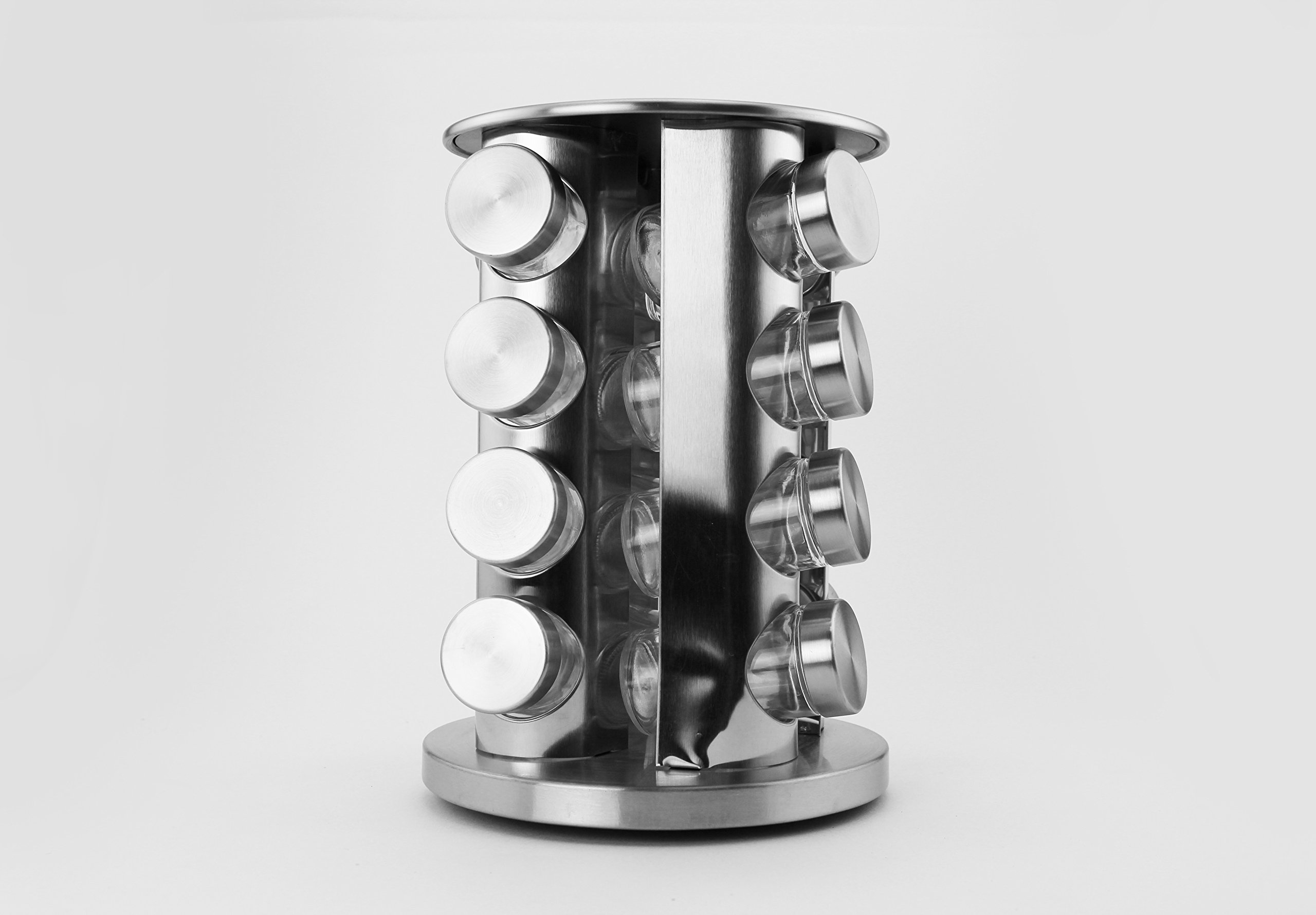 Tytroy 16 Round Spice Jar Steel Spice Rack Stainless Steel Kitchen Organizer for Dry Herbs