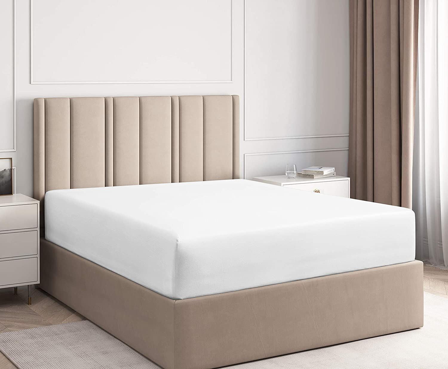 Full Fitted Sheet - Single Fitted Deep Pocket Sheet - Fits Mattress Perfectly - Soft Wrinkle Free Sheet - 1 Fitted Sheet Only – White