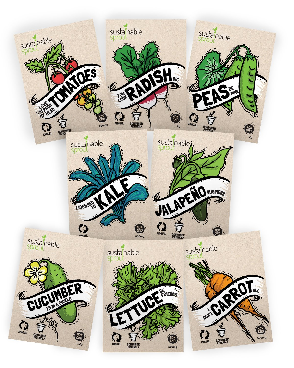 Vegetable Seeds Heirloom''SillySeed'' Collection - 100% Non GMO. Veggie Garden Variety Pack: Tomato, Cucumber, Lettuce, Kale, Radish, Peas, Carrot, Jalapeno Pepper by Sustainable Sprout