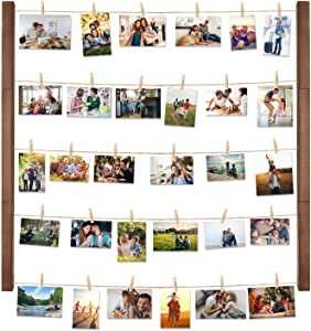 Halcent Wall Picture Photo Frame Collage for Picture Display, Wood Decor Wall Photo Display Frame with 30 Clips Multi Rustic Picture Frame 26 x 29 Inch
