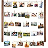 Halcent Wall Picture Photo Frame Collage for Picture Display, Wood Decor Wall Photo Display Frame with 30 Clips Multi…
