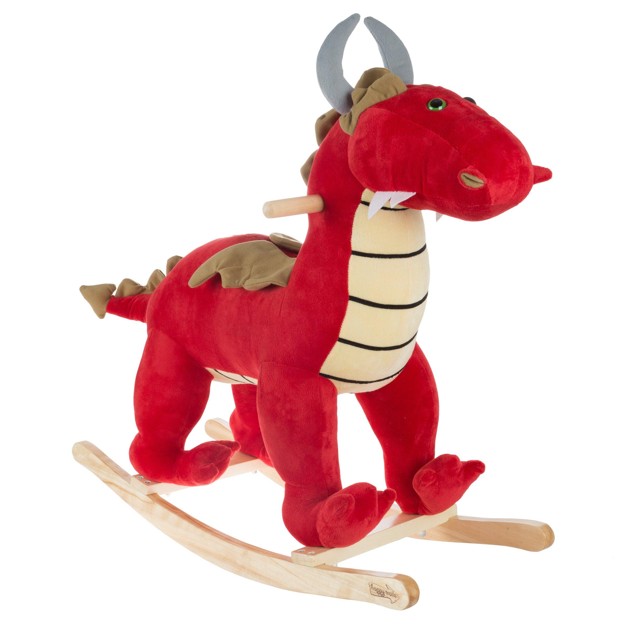 Hey! Play! Rocking Animal Toy Kids Ride on Plush Stuffed Dragon on Wooden Rockers Handles, Fun Boys, Girls, Toddlers (Red)