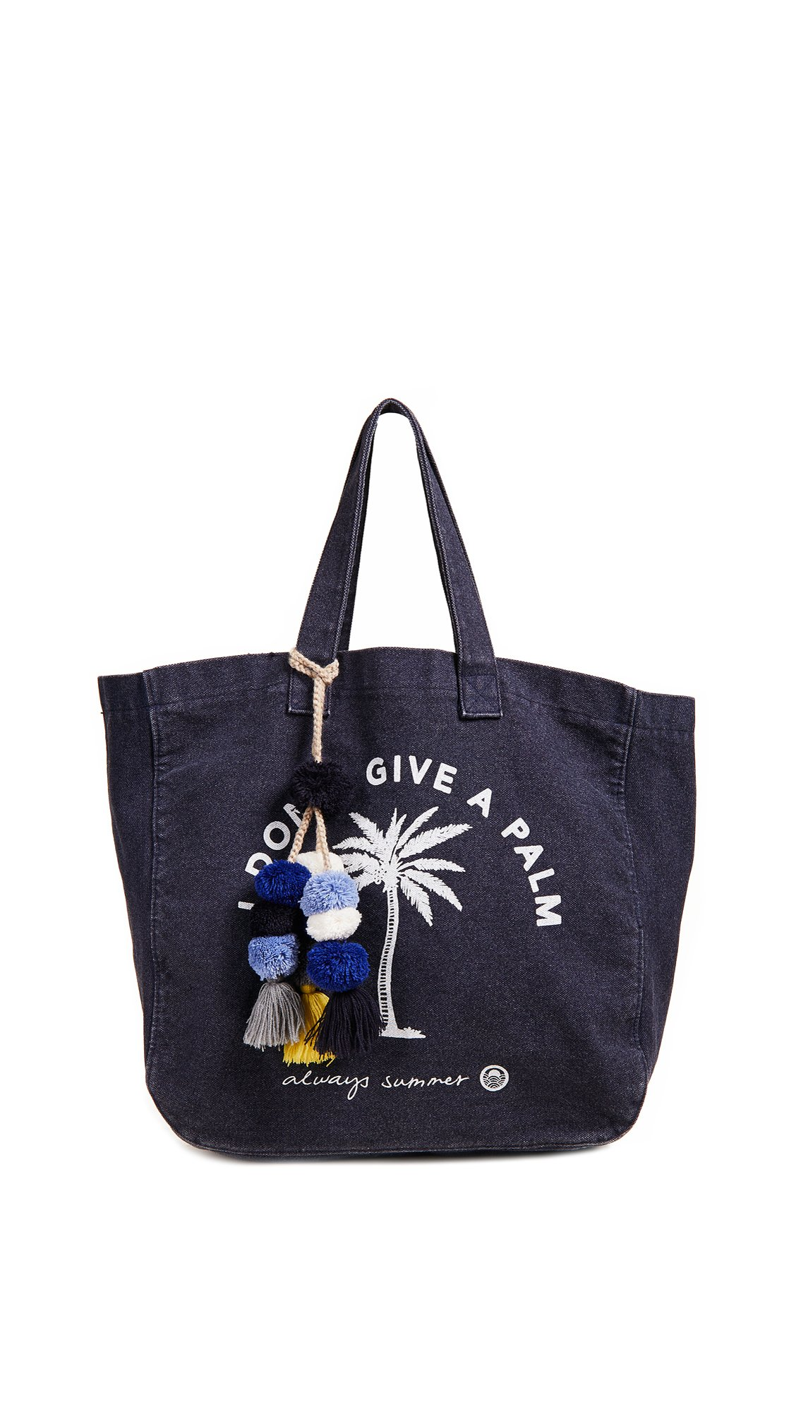 SUNDRY Women's I Don't Give a Palm Tote, Navy, One Size