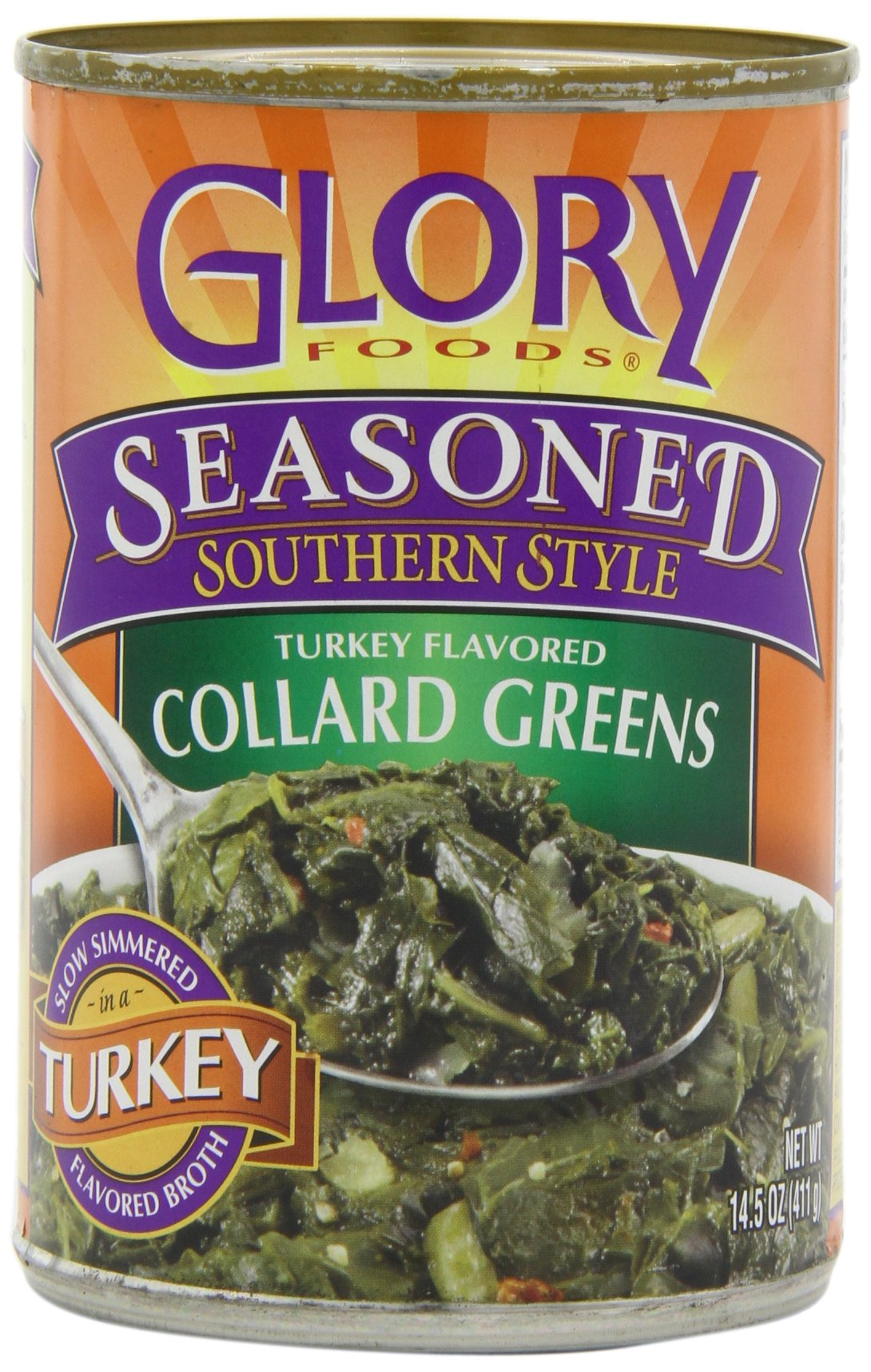 Glory Foods Seasoned Collard Greens with Smoked Turkey, 14.5-Ounce (Pack of 12) by Glory Foods