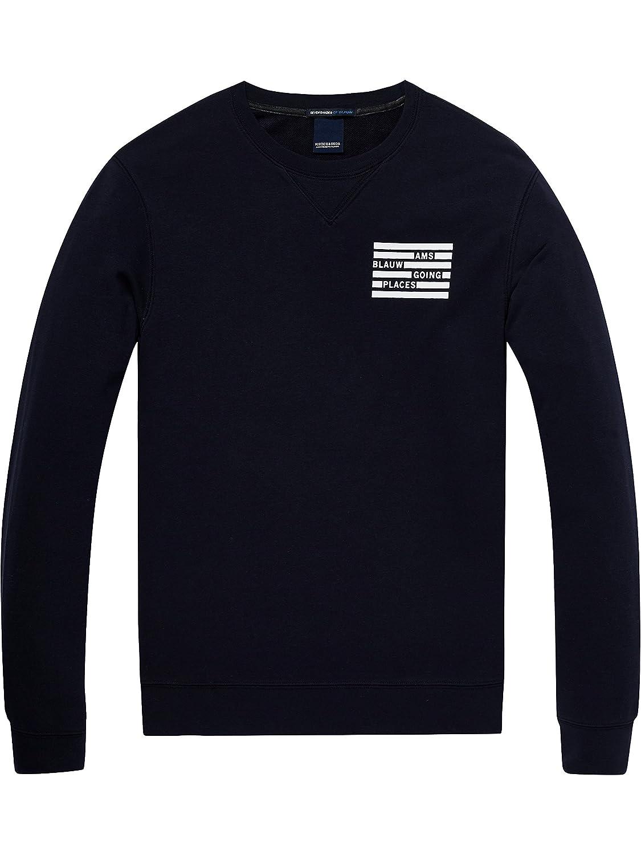 Scotch & Soda Herren Sweatshirt AMS Blauw Classic Sweat in Seasonal Colours and Regular Fit 145158