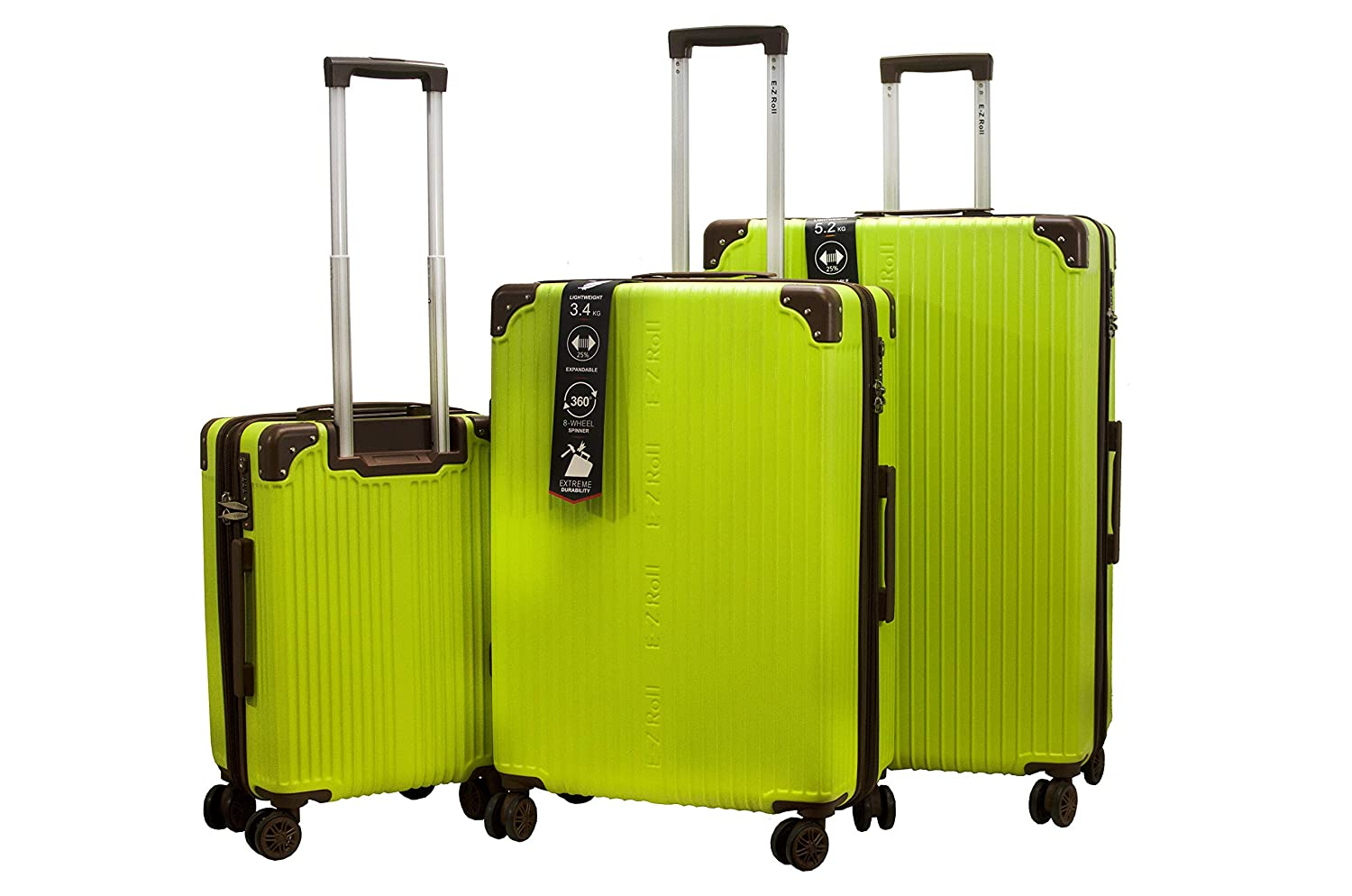 Pink E-Z ROLL Brand Classic 3 piece Hardside Spinner Luggage Set-10 years Warranty