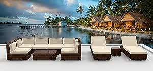 Urban Furnishing.net - Brown Series 10a Modern Outdoor Backyard Wicker Rattan Patio Furniture Sofa Sectional Couch Set