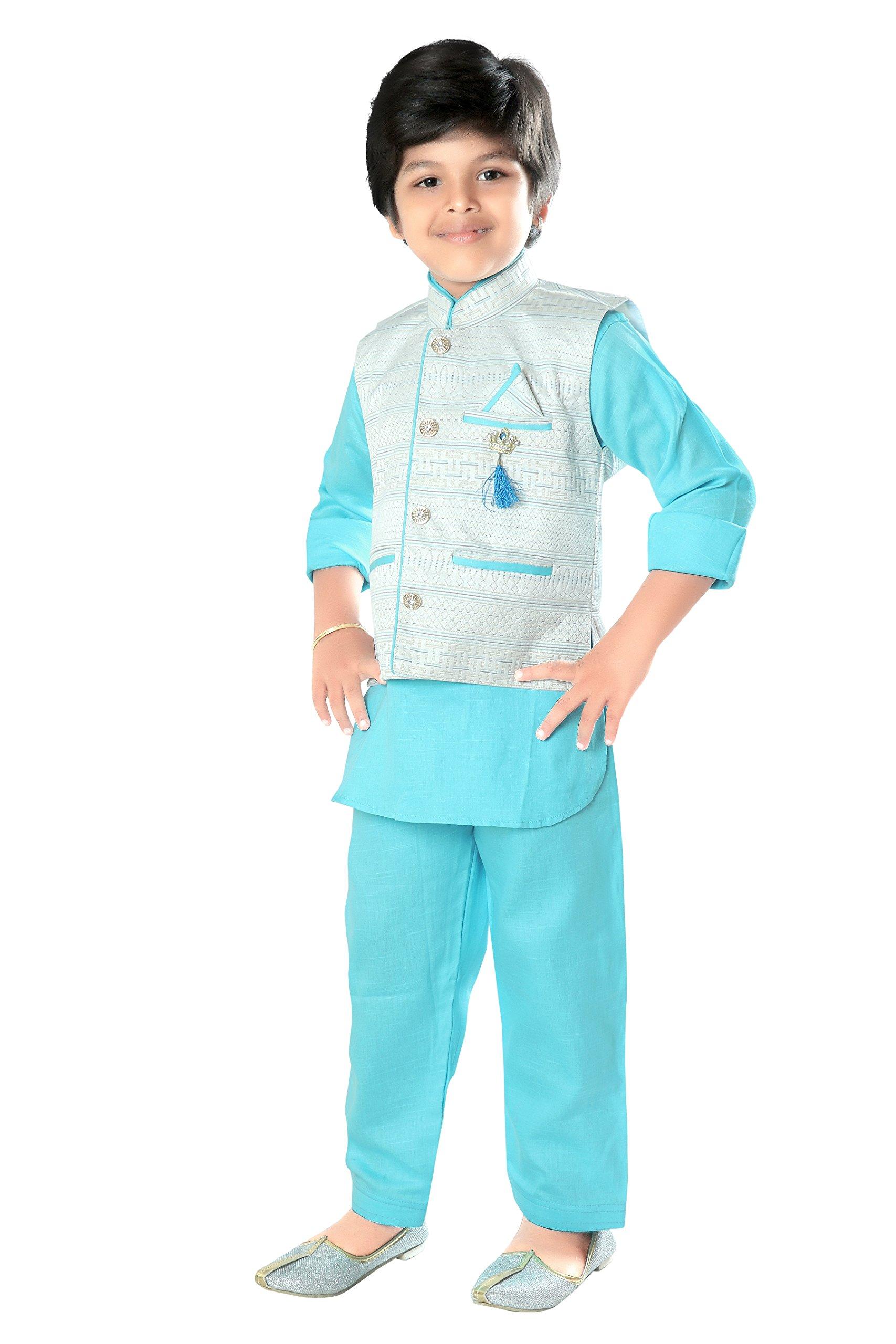 ahhaaaa Kids Indian Ethnic Wear Bollywood Style Kurta Pyjama and Waistcoat Set for Boys