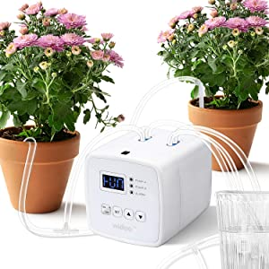Auburet Double Pump Automatic Drip Irrigation Kit, Micro Houseplants Self Watering System, Digital Programmable Water Timer, Power Adapter or Battery Operation, for 20 Potted Plants