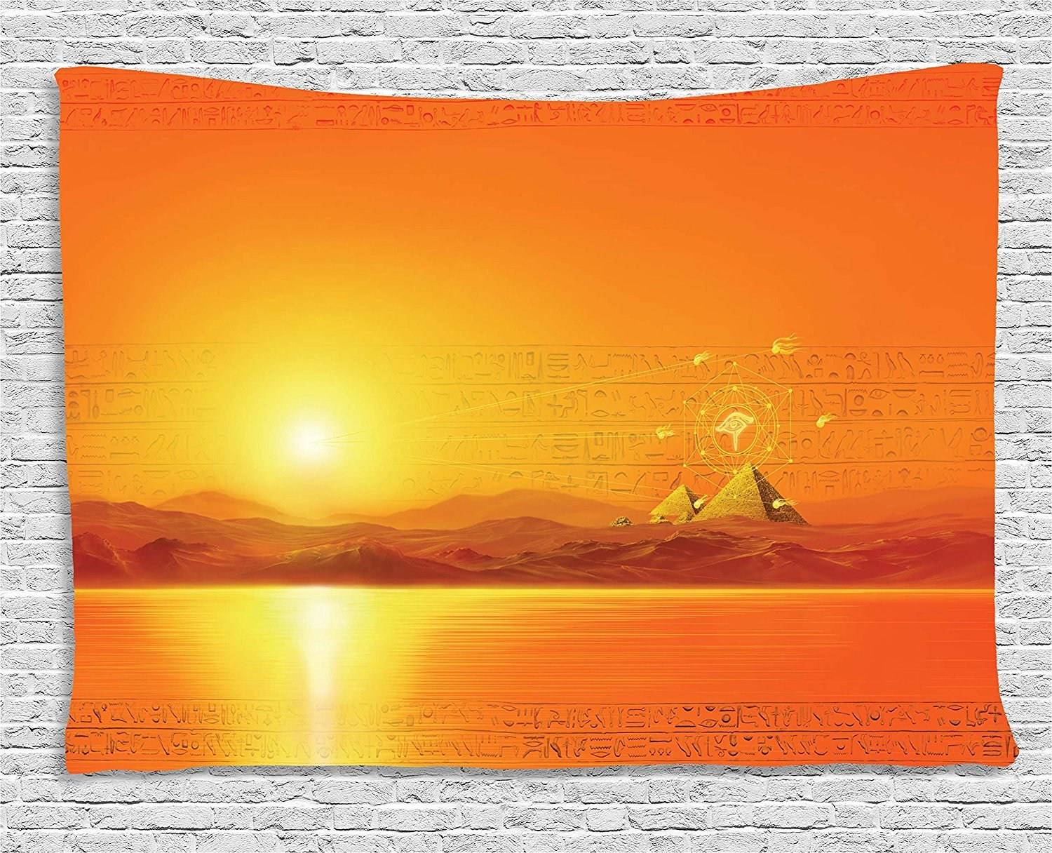 asddcdfdd Egypt Decor Tapestry, Sacred Geometry Symbol Hanging in the Air Sun Ancient Scene Reflection Print, Wall Hanging for Bedroom Living Room Dorm, 60 W X 40 L Inches, Yellow Orange