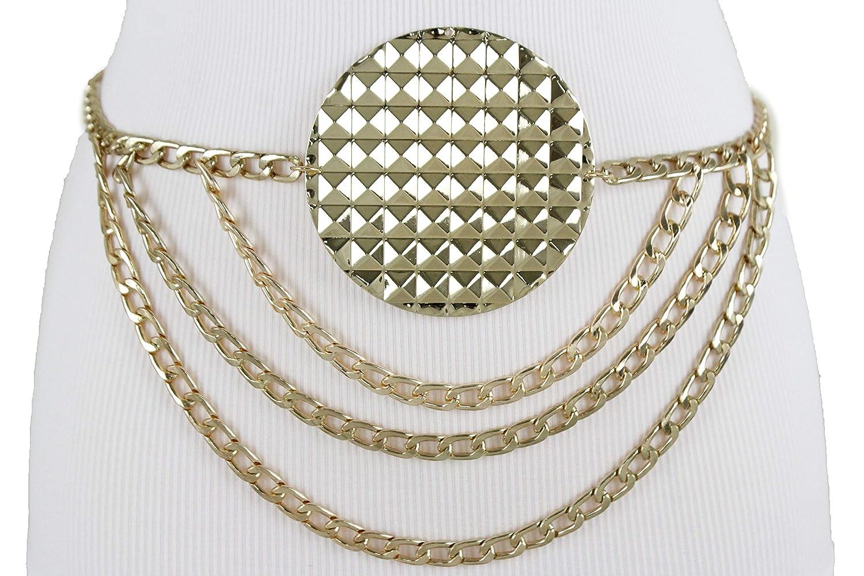 TFJ Women Gold Metal Chain Dressy Wave Links Fashion Belt Hip Waist Bold Studs Circle Charm M L XL