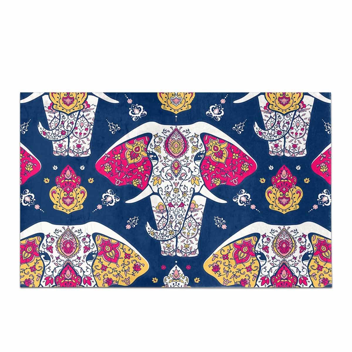 InterestPrint Hippie Mandala and Elephant Yoga India Arabic Style Home Decor Non Slip Soft Bath Rug Mats Shower Rug for Bathroom Tub Bedroom Large Size 20 x 32 Inches