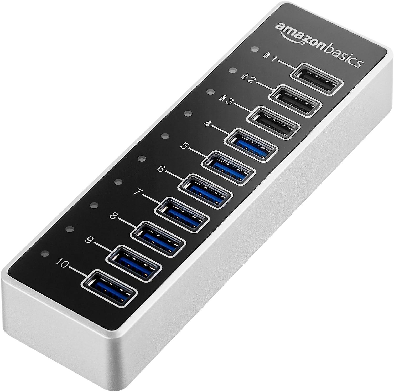 AmazonBasics USB-A 3.1 10-Port Hub with Power Adapter - 65W Powered (20V/3.25A), Silver