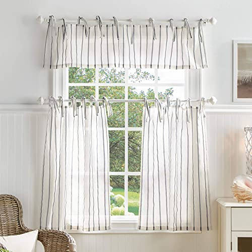 MARTHA STEWART Laguna Stripe Semi-Sheer Tie Tab Window Curtain Valance and Tiers Set, Grey