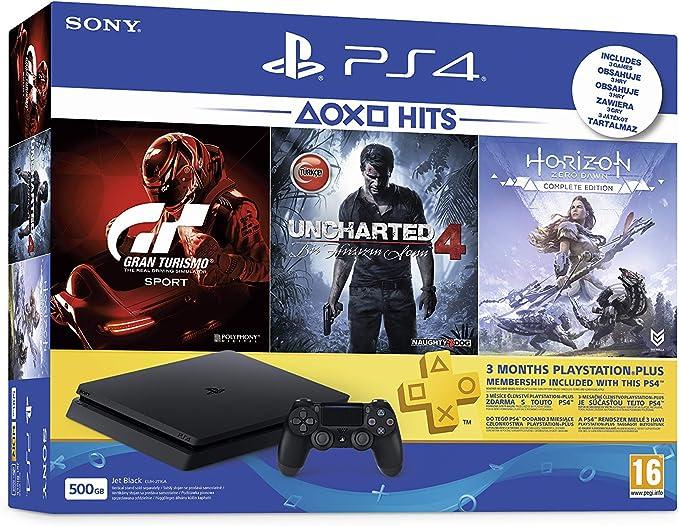 Sony PlayStation 4 500GB + GT Sport, Uncharted 4, Horizon Zero Dawn Negro - Videoconsolas (Uncharted 4, Horizon Zero Dawn, PlayStation 4, Negro, 8192 MB, GDDR5, GDDR5, AMD Jaguar): Amazon.es: Videojuegos