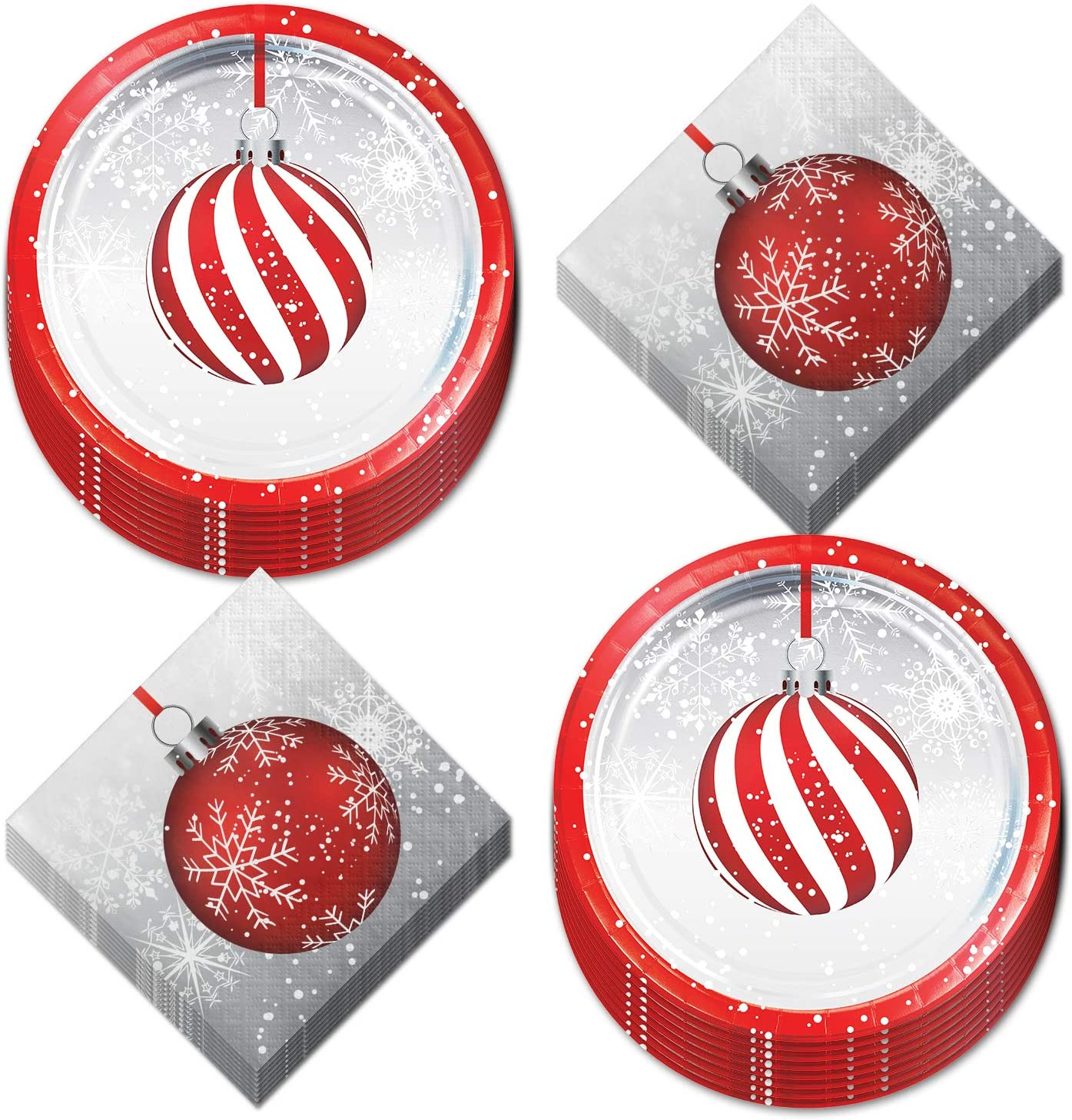 Holiday Ornament Red & Silver Metallic Paper Dessert Plates and Beverage Napkins (Serves 16)