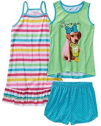 Komar Kids Girls 3 Piece Sleepwear Set Mermaid Short Set with Print Gown