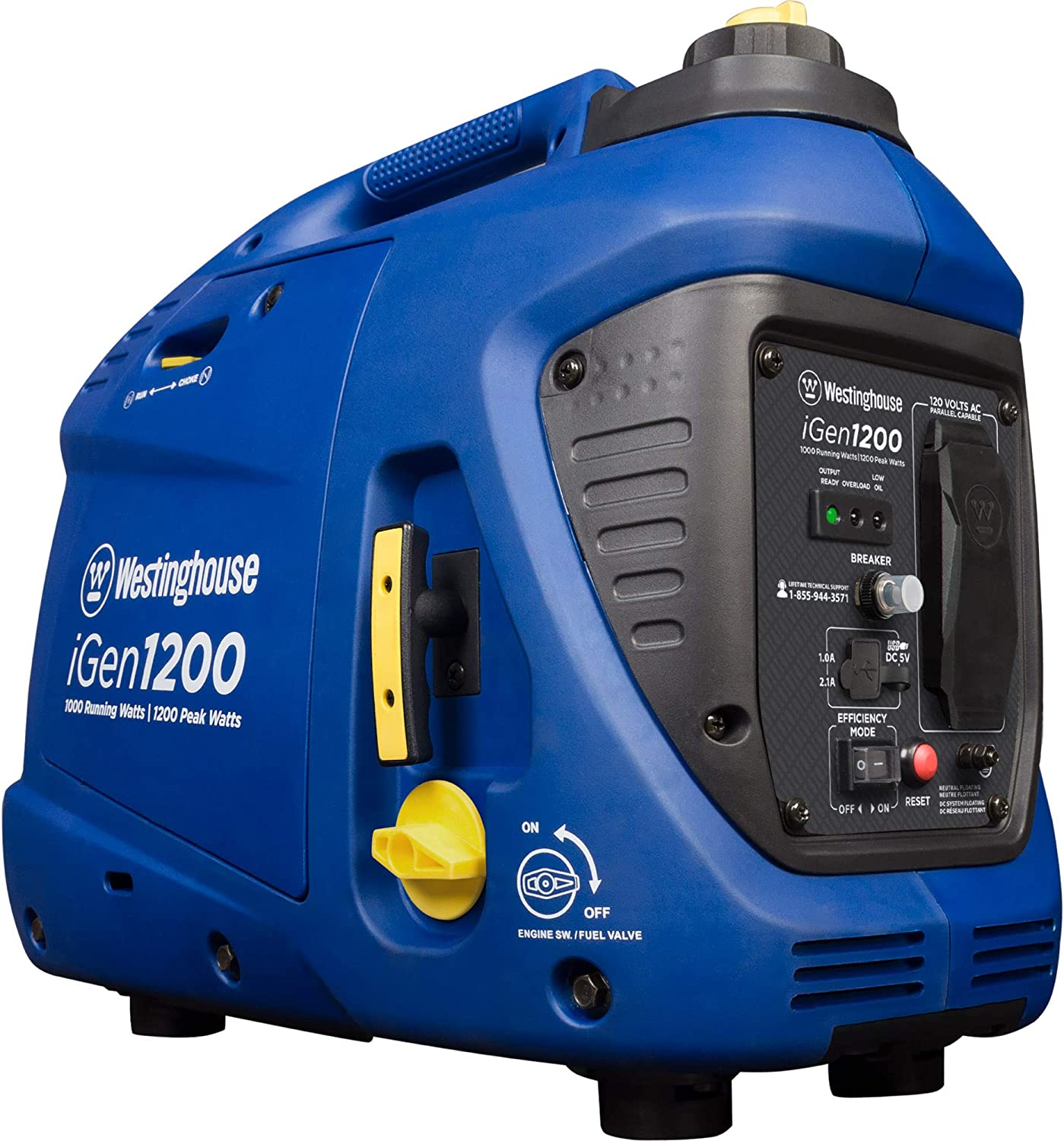 Westinghouse iGen1200 Portable Inverter Generator 1000 Rated 1200 Peak Watts, Gas Powered, CARB Compliant
