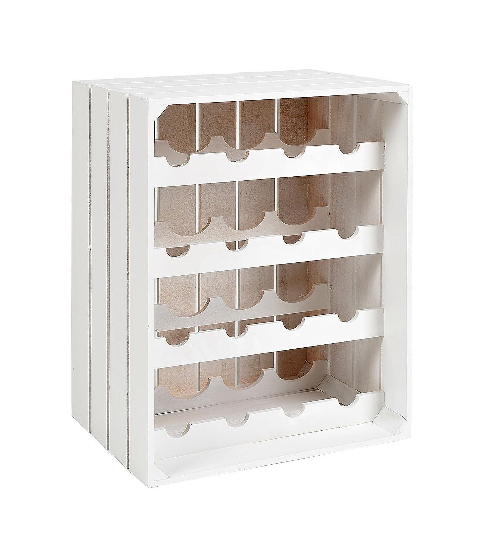 ts-ideen Cantinetta Cassetta portabottiglie sovrapponibile in legno bianco per 16 bottiglie