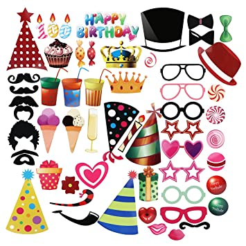 Pbpbox Photo Booth Geburtstagsparty 56 Pcs Amazon De Spielzeug