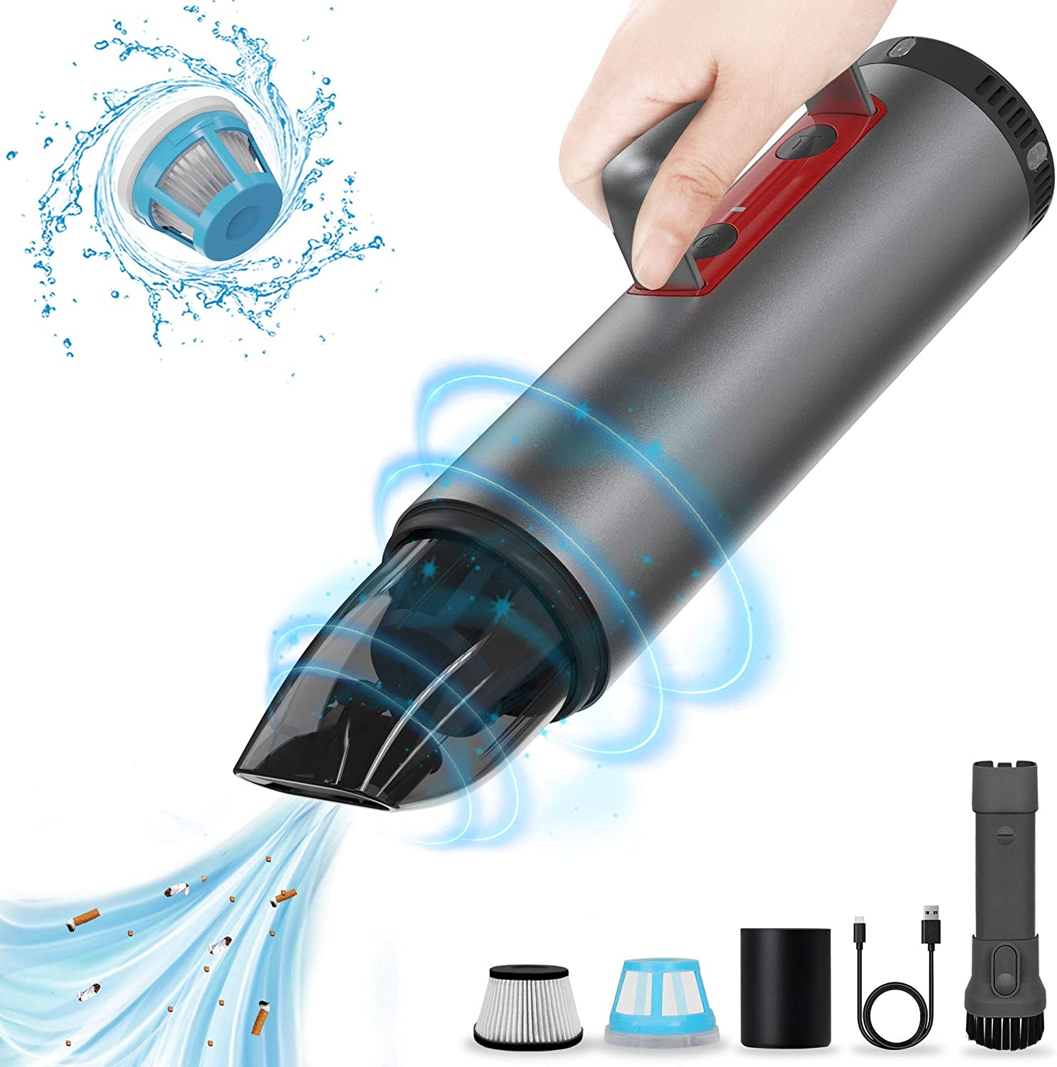 Car Vacuum Cleaner, POWERGIANT Handheld Cordless Rechargeable Vacuum Cleaner Car Accessories Kit with Strong Suction and LED Lights for Home Office Pet Hair Care and Car Interior Cleaning