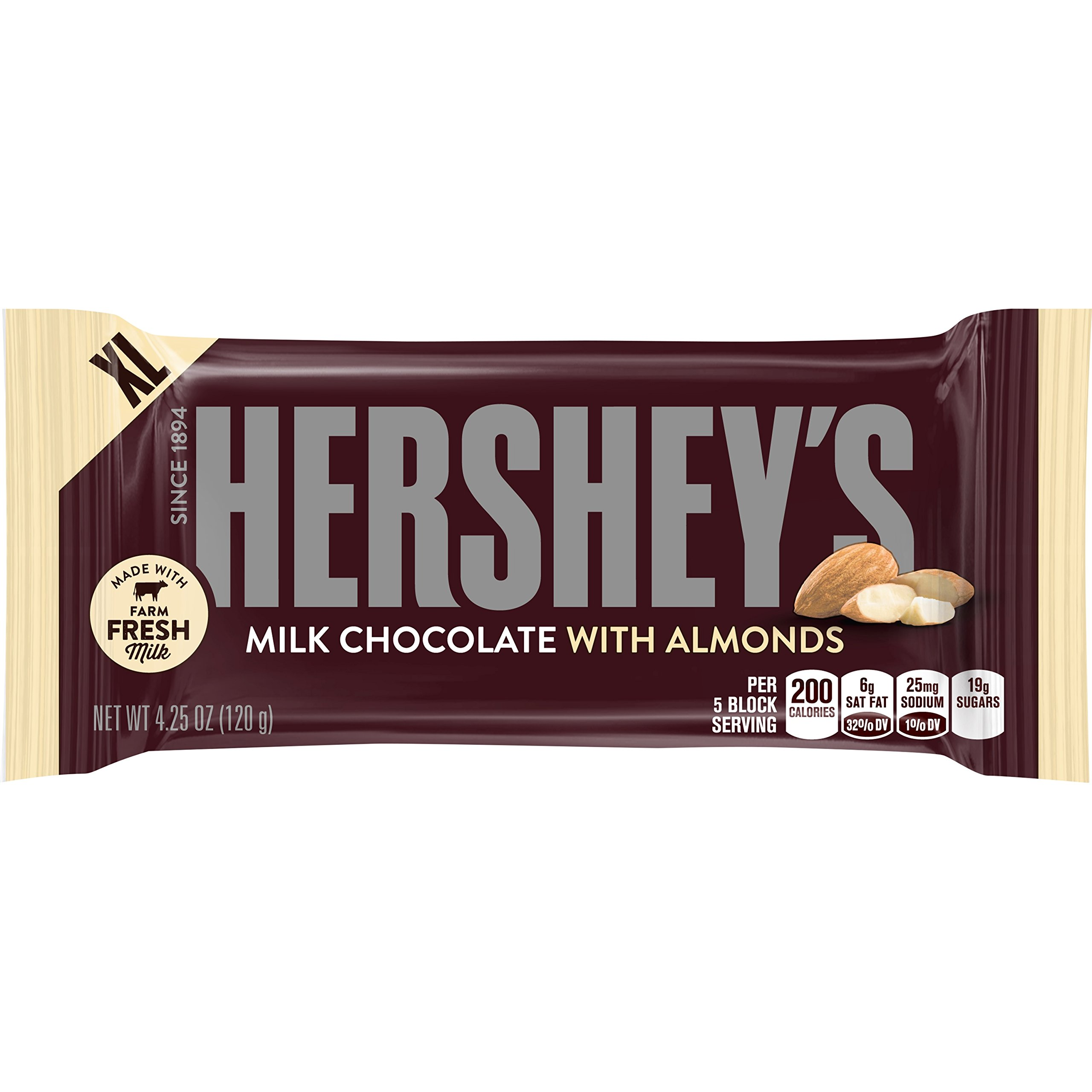 HERSHEY'S Extra-Large Milk Chocolate with Almonds Bar, 4.25 Ounce