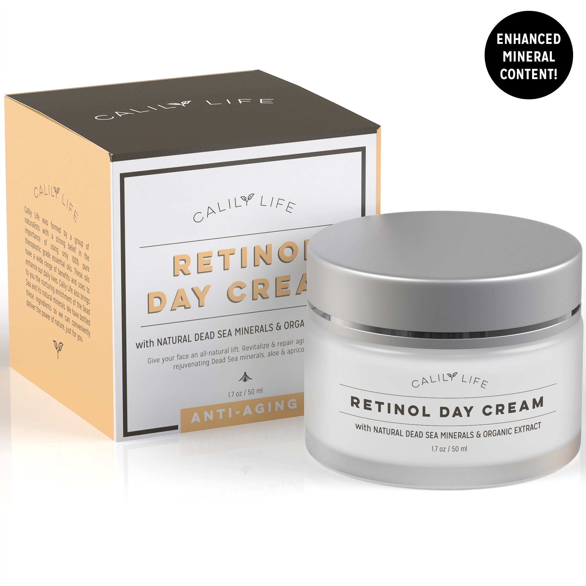 CalilyLife Organic Anti-Aging Retinol Day Cream with Dead Sea Minerals, 1.7 Oz. – Non-Greasy, Fast Absorbing – Anti-Wrinkle, Hydrates, Smooths, Regenerates and Strengthens