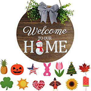 Seasonal Welcome Door Sign Interchangeable Welcome to Our Home Wood Round Wreath with Buffalo Check Plaid Bow Outdoor Holiday Decoration for Spring Summer Autumn Winter 14 Pieces Hanging Ornaments