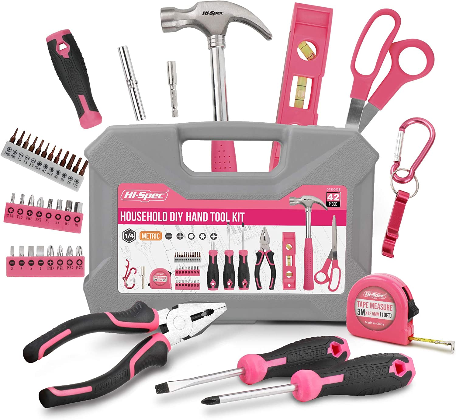Hi-Spec 42 Piece Household DIY Tool Kit Set. Hand Tools & Precision Screwdriver Bit Set for DIY Repair at Home & The Office. Includes Carabiner & Bottle Opener Key Ring. All in a Carry Case