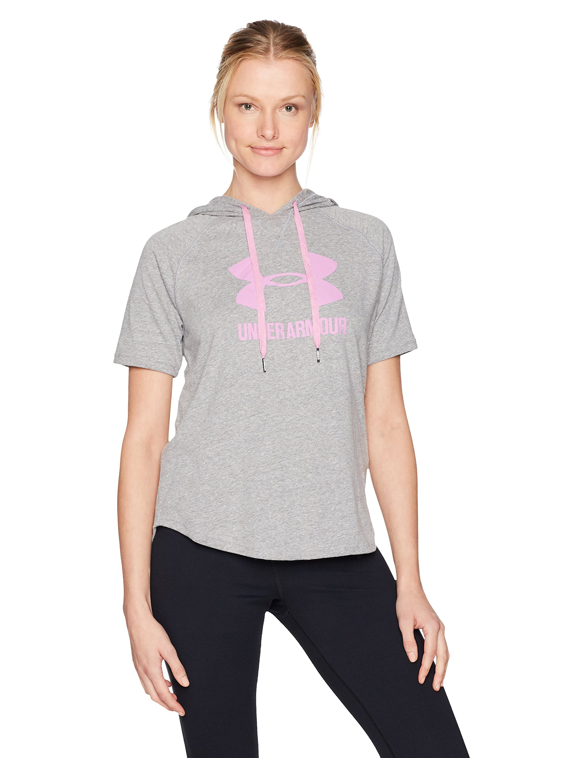 Under Armour Women's Sportstyle Short Sleeve Hoodie, Charcoal (019)/Icelandic Rose, Small