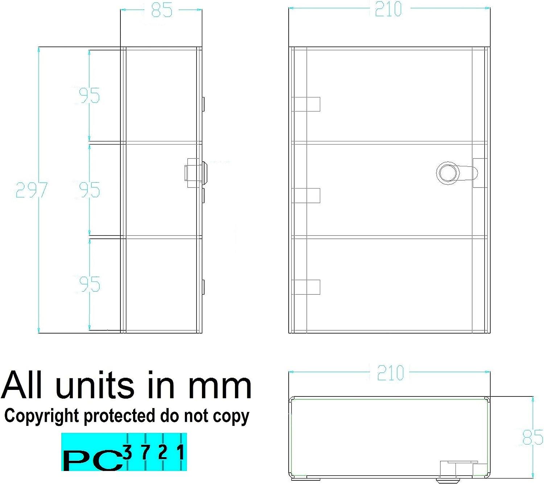 297 x 210 x 85 mm PC3721@ 1 Vetrina acrilica Trasparente Lucida con sportello Anteriore e Lucchetto di Sicurezza
